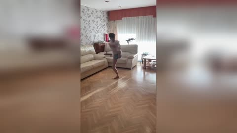 Amazing Moment Teen Skater Pirouettes In Living Room