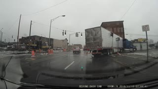 Semi Truck Takes Down Crosswalk Signal