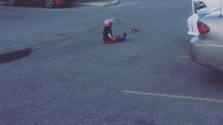 Collab copyright protection - little girl skateboard pink helmet