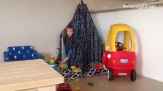 Collab copyright protection - toddler black tent toy fall - Video
