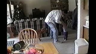 Dog Steals Girls Pants While Dad Swings Her - Video