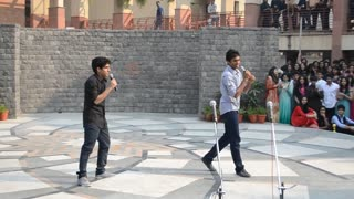 Singing program students enjoying in college  - Video