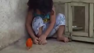 A child is afraid of chick hahah  - Video