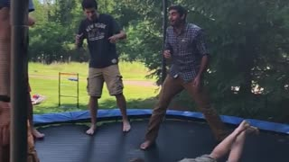 Slo mo trampoline backflip face plant fail - Video