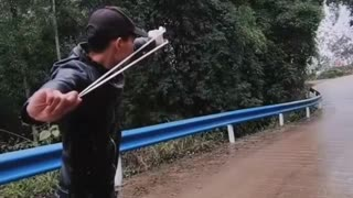 Cutting tree with Slingshot | Satisfying Video