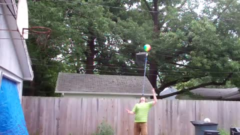 Human basketball pole trick shot by AGT competitor