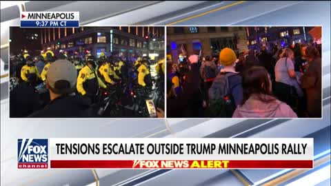 Anti-Trump protests outside of Minneapolis rally