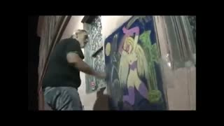 Time Lapse Painting #14 3d Fantasy Street Art Master Carl Quintiliani - Video