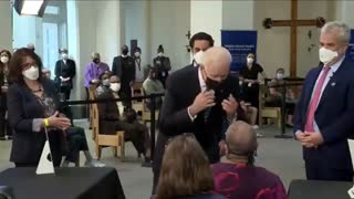 Biden Gets Inches Away From a Woman's Face to Tell Her to Socially Distance