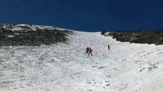 Collab copyright protection - three guys ski down hill fall  - Video