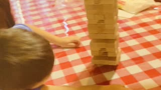 3 year old playing Jenga!!