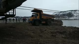 Moment Sunken Haulage Truck Pulled Out Of Lake Bed