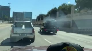 Flatbed Truck Tows Flaming Car