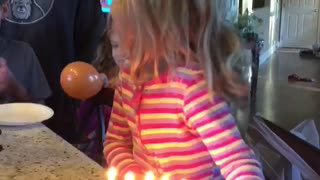 Little Girl Tries To Blow Out Birthday Candles, Lights Her Hair On Fire - Video