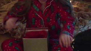 Little girl utterly surprised by hamster for Christmas