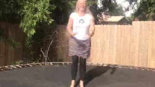 Trampoline Rips During Mom's Trick Video