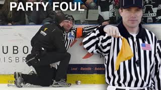 Hockey Ref Gets Hit in Nuts with Full Beer Can - Video