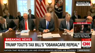 Trump tells reporters they can stay for Ben Carson's prayer at Cabinet meeting. - Video
