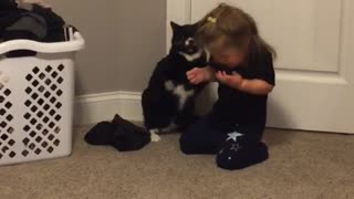 Cat unloads fists of fury on little girl