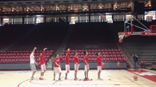 Basketball team makes seven baskets in a row