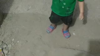 Funny Baby Playing With Sand