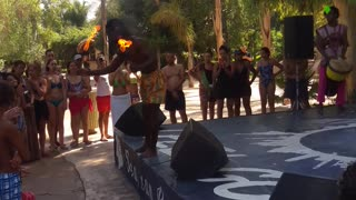 African Crazy Dance With FIRE