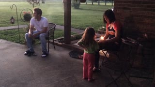 Sparkler Lands In Daddy's Lap - Video