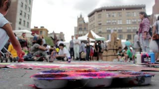 Audience Gather In Street Painting Action