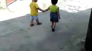 Two brothers walking