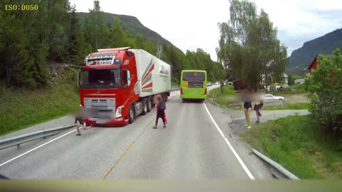 Semi Truck Narrowly Misses Kids Crossing Street