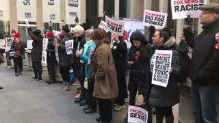 Raging hypocrites protest outside FNC's NYC headquarters