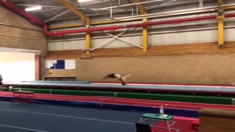 Incredibly talented gymnast practices mind-blowing moves
