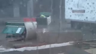 Man Stuck in Porta Potty Tips During a Storm