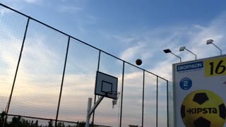 Epic basketball trick shot in slow motion