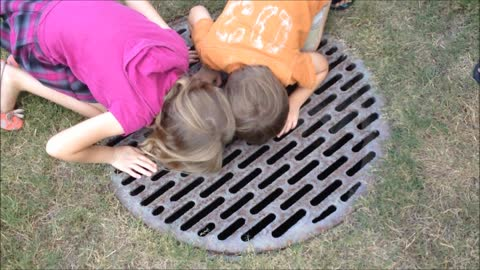 Rescuing a turtle from a storm drain
