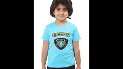 Kids Graphic Design Printed Chocolate Colour Cotton T Shirts