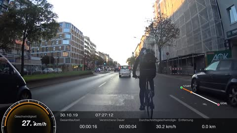 Angry Driver Nearly Sideswipes Cyclist In Berlin