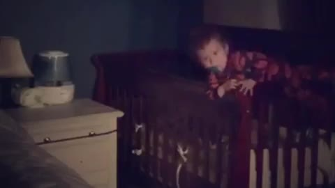 Baby instantly regrets escaping from his crib