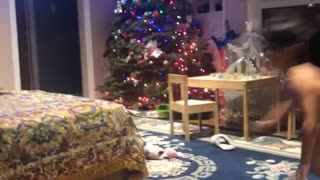 Little boy runs into couch