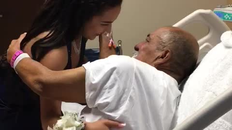 Loving Grandson Visits His Grandpa in Hospital Before Prom