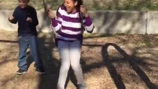 Collab copyright protection - girl on swing kicks small brother - Video