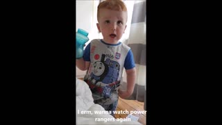 Toddler denies that TV influenced curse word - immediately curses after learning he can't watch it - Video