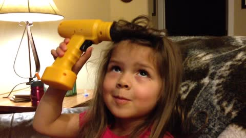 Little Girl Uses Toy Power Drill To Curl Her Hair