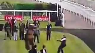 Race Horse Breaks Loose But A good Jockey Always Knows How To Handle Right - Video
