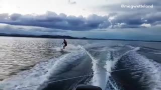 Collab copyright protection - two friends wakeboard crash together - Video