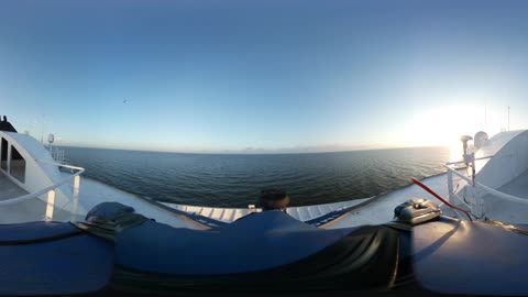 Fast ride through busy shipping channel - 360VR