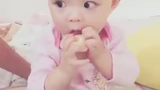 The feeling of baby eating yogurt - Video