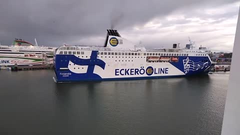 Beautiful Ferry MS Finlandia Sails From The Pier
