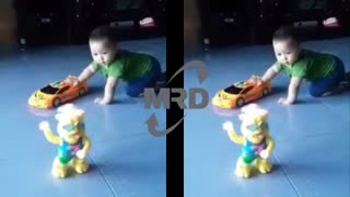 Baby playing with toys car and plastic bears