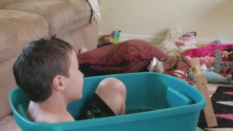 Capuchin Monkey Grooms Kid's Hair and Plays in the Toy Tub With Him